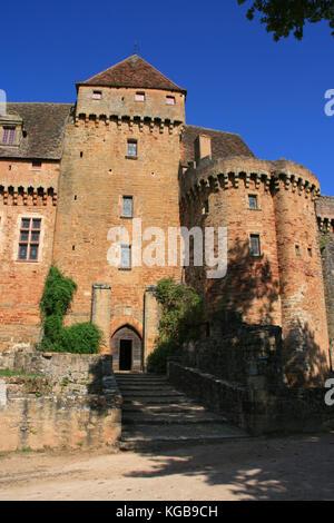 Castelnau-Bretenoux castle in Prudhomat (France). - Stock Photo