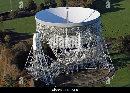 aerial view of Jodrell Bank in Cheshire, UK - Stock Photo