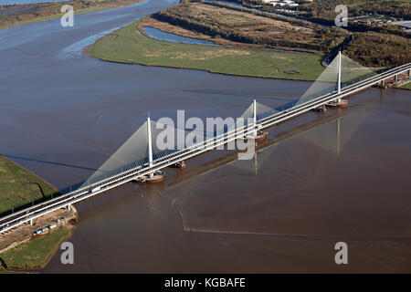 aerial view of the new Mersey Gateway linking Widnes & Runcorn, Cheshire, UK - Stock Photo