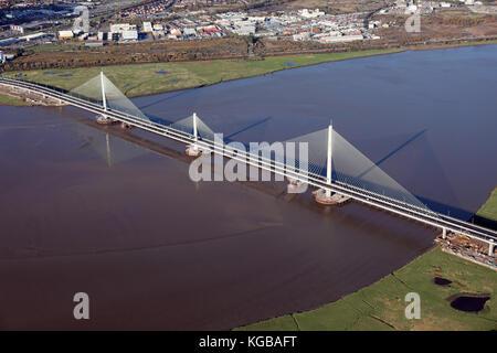 aerial view of the new Mersey Gateway linking Widnes & Runcorn, Cheshire, UK - Stock Photo