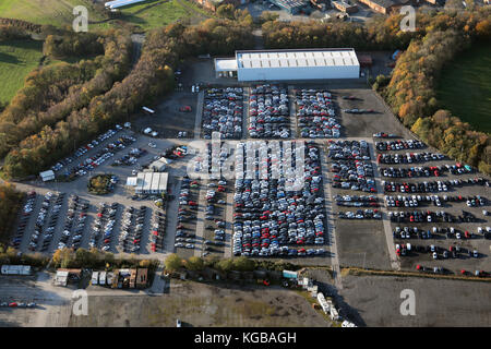 aerial view of the Sentinel Car Park for Leeds Bradford Airport, UK - Stock Photo
