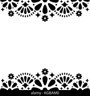 Mexican folk vector wedding or party invitation, floral happy greeting card, black and white frame - Stock Photo