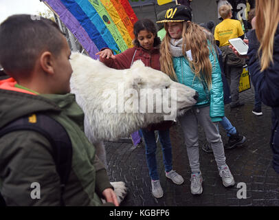 Bonn, Germany. 6th Nov, 2017. Kids stroke a group of ice bears during a Greenpeace protest with the slogan 'Kids for Earth' in Bonn, Germany, 6 November 2017. Credit: Henning Kaiser/dpa/Alamy Live News