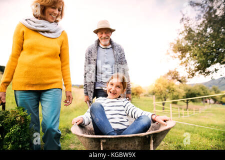 Senior couple with grandaughter gardening in the backyard garden - Stock Photo