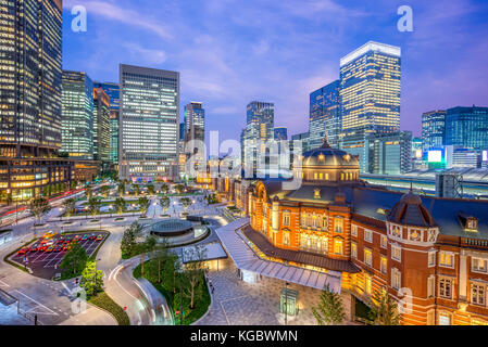 tokyo station at night - Stock Photo