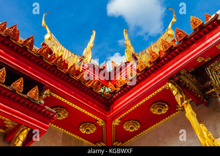 Bangkok, Thailand - September 10, 2016: Architectural details of Wat Benchamabophit also known as Marble Temple - Stock Photo