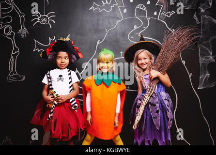 Group of kids at halloween - Stock Photo