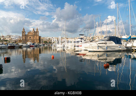 Parish Church St Joseph's and the Marina, Msida, Valletta, Malta - Stock Photo