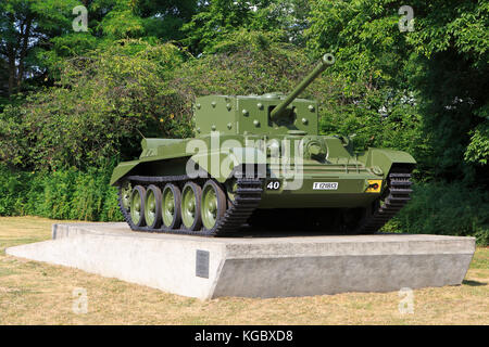 A British Cromwell IV Tank (A27M) of the 11th Armoured Division used during the liberation of Antwerp, Belgium in - Stock Photo