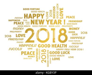 Greeting words around gold 2018 year type, on a black background ...