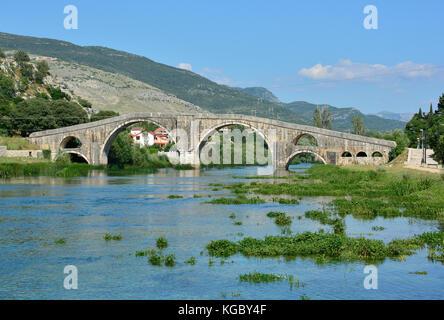 Arslanagica Most over Trebisnjica River in Trebinje, Bosnia, also known since 1993 as Perovica Bridge. Built by - Stock Photo