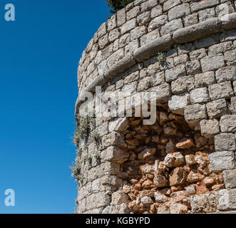 Shell damage from the Seige Of Dubrovnik on the  Fort Imperial atop Mount Srd, Dubrovnik, Croatia, Europe - Stock Photo