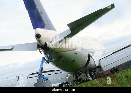 Boeing 747-400 Jumbo Jet in the process of being salvaged and scrapped at Kemble UK by ASI. - Stock Photo
