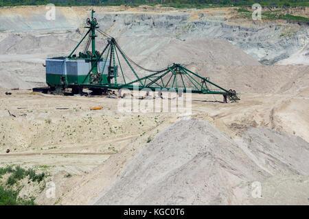Amber open-cast mining in Yantarny - Stock Photo