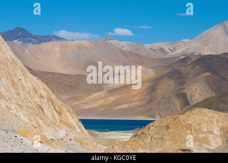 Pangong Tso, also referred to as Pangong Lake, is an endorheic lake in the Himalayas situated at a height of about - Stock Photo