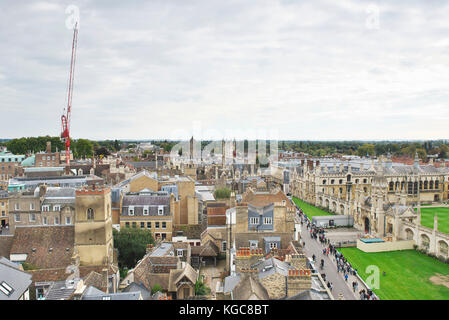 View from St Marys Church tower in historical cambridge city of the Market Square and kings college in the city - Stock Photo