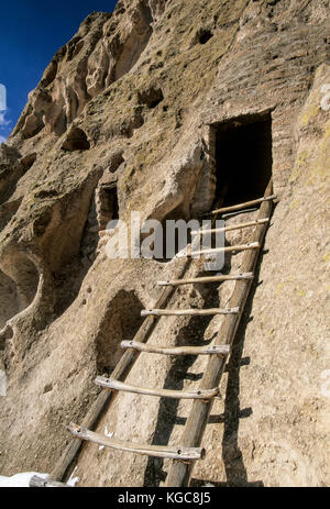 Ladder to cliff dwelling, Frijoles Canyon, Bandelier National Monument, near Los Alamos, New Mexico USA - Stock Photo