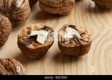 Two half fresh picked wet walnuts - Stock Photo