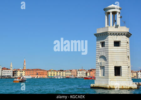 The lighthouse on the Venetian island of San Giorgio Maggiore - Stock Photo