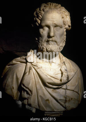 Roman bust probably of Roman emperor Antoninus Pius (86-161 AD). Marble. 2nd century AD. Museum of History of the - Stock Photo
