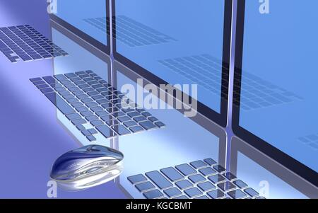 3D render of computer screens, keyboards and a mouse. 3D image. - Stock Photo
