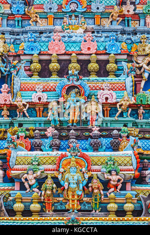 Bas reliefes on gopura tower of Hindu temple. Sri Ranganathasw - Stock Photo