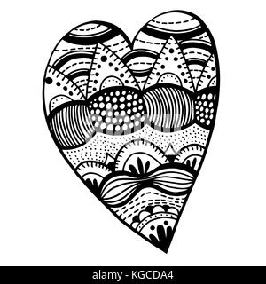 heart shaped pattern for adult and older children coloring book, black and white zentangle background for valentines - Stock Photo