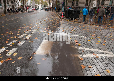 Large rain puddle with fallen Autumn leaves in Charing Cross Road, London, UK - Stock Photo