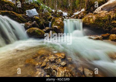 Cascade of Sibli-Wasserfall. Rottach-Egern, Bavaria,  Germany - Stock Photo
