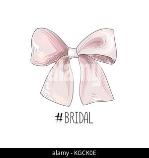 Bow drawn. Wed sign. Gentle cream pink bow ribbon isolated with tag Bridal - Stock Photo