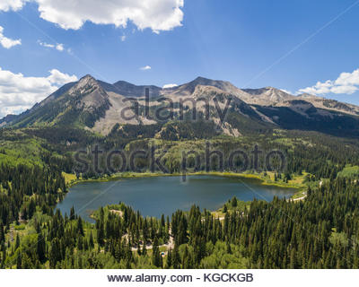 Aerial view of popular Lost Lake Slough and West Beckwith Mountain along the West Elk Loop in western Colorado. - Stock Photo