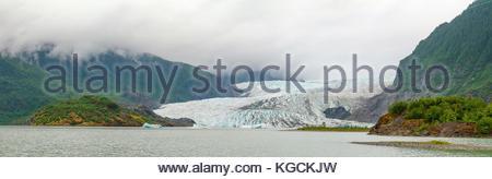 Panoramic view of the Mendenhall Glacier near Juneau, Alaska. - Stock Photo