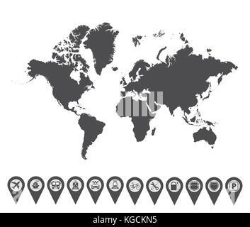 World map icon 2 - Stock Photo