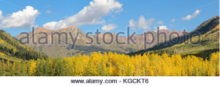 Mount Bellview from Gothic, Colorado on a brilliant fall day. - Stock Photo
