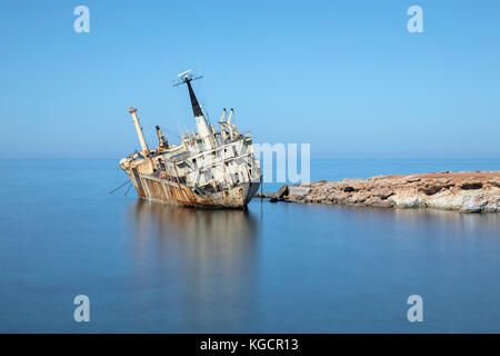 Edro III shipwreck, Pegeia, Paphos, Cyprus - Stock Photo