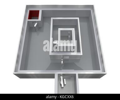 empty storage room bank top view 3d rendering - Stock Photo