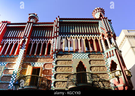 Casa Vicens. Designed by architect Antoni Gaudi. Carrer de les Carolines, Barcelona, Catalonia, Spain. - Stock Photo