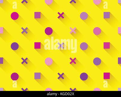 Seamless pattern with geometric shapes, square, circle with shadow on a yellow background. Purple, burgundy and - Stock Photo