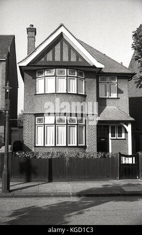 1940s, England, exterior view of a well-built detached house in the suburbs. Built in a traditional style in the - Stock Photo