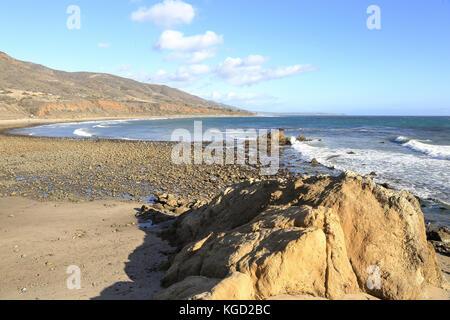 sunny afternoon at Leo Carrillo State Beach, Malibu California - Stock Photo