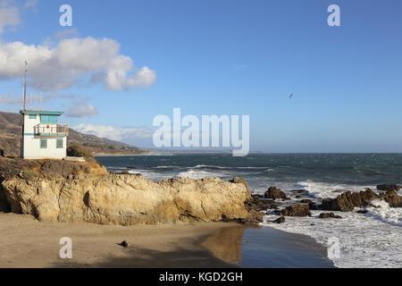 Lifeguard station at Leo Carrillo State Beach, Malibu California - Stock Photo
