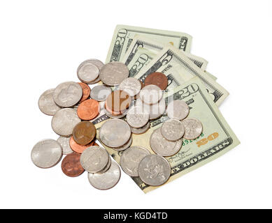 Horizontal shot of fanned out five and twenty dollar bills with a pile of coins on top of them on a white background. - Stock Photo