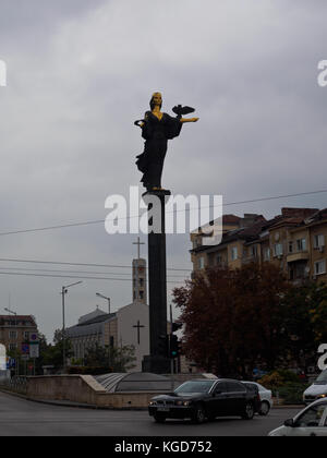 The statue of Sveta Sofia in the middle of the street in Sofia city. - Stock Photo