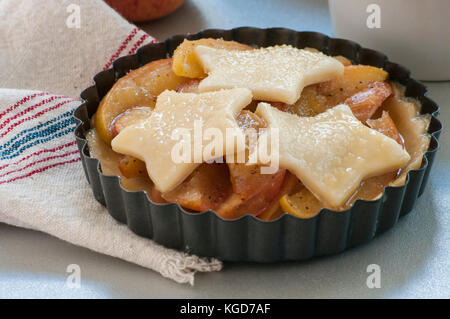 Baking process, ingredients for baking, workplace culinary, background. Ingredients (flour, egg, pie crust, cinnamon) - Stock Photo