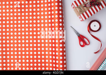 christmas present and wrapping papers Stock Photo