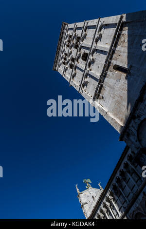Tower of Chiesa di San Michele in Foro, Lucca city, Italy. - Stock Photo