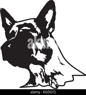 Silhouette of a dog.Vector illustration of german shepherd. - Stock Photo