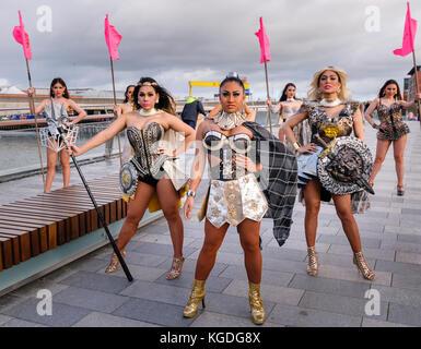 Belfast, Northern Ireland. 04/11/2017 - The Ladyboys of Bangkok arrive in Belfast for 14 nights of entertainment - Stock Photo