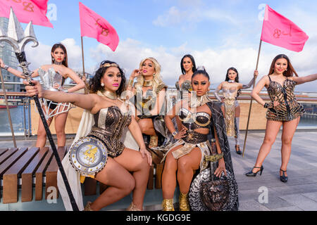 Belfast, Northern Ireland. 04/11/2017 - The Ladyboys of Bangkok arrive in Belfast for 14 nights of entertainment - Stock Photo