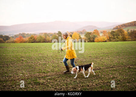 Senior woman with dog on a walk in an autumn nature. - Stock Photo